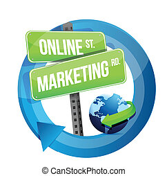 online marketing road sign and globe illustration design...