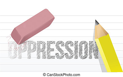 erasing oppression concept illustration design over a white...