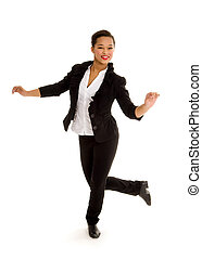 Tap Dancing Girl in Action - A Smiling Tap Dancing Girl in...