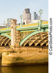 Underneath Southwark Bridge in London - Girders supporting...
