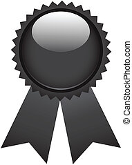 Black ribbon award isolated on white