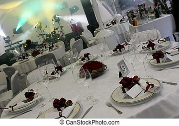 Place settings at wedding disco