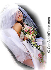 Smiling car in wedding car limousine - Smiling bride holding...