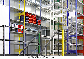 Shelving system - New warehouse interior with modern metal...