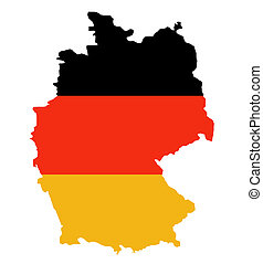 Outline map of Federal Republic of Germany in colors of...