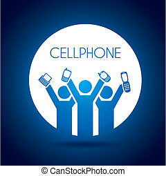 cellphone design over blue background vector illustration