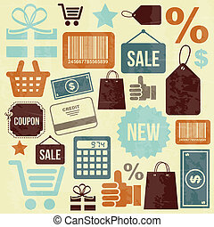 shopping icons design over cream background vector...