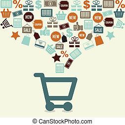 shopping cart over white background vector illustration