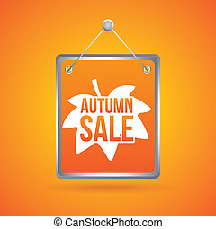 autumn sale over orange background vector illustration
