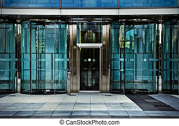 Office door, business building in madrid, spain