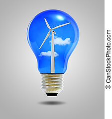 wind energy concept, light bulbs with wind turbine inside