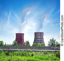 Thermal station and smoke stack in afternoon