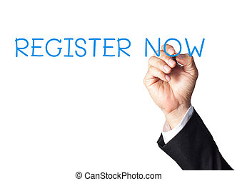 businessman hand writing register now on white board