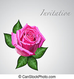 Gift card with pink rose flower. Vector eps10 floral...