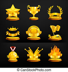 Gold awards, vector set on black