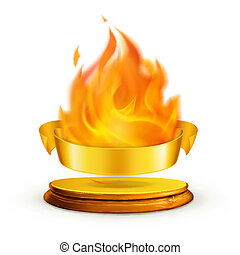 Golden flame, vector