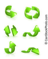 Green arrows set, vector