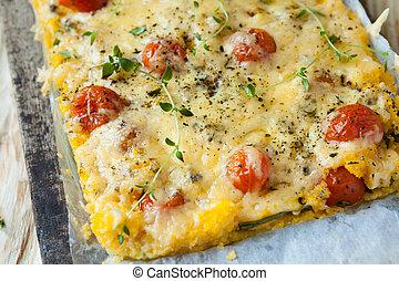 milho, casserole, ASSADO, queijo