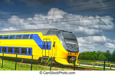dutch train - train passing by in the Netherlands