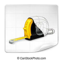 Tape measure drawing, vector