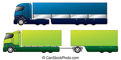 Aerodynamic trucks designs with different trailers