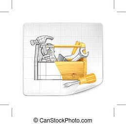 Tool box drawing, vector