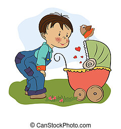 funny big brother with stroller, illustratio