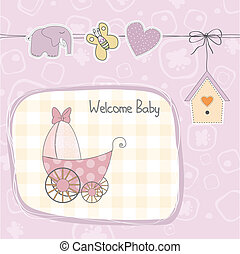 baby girl shower card with stroller, illustration in vector...