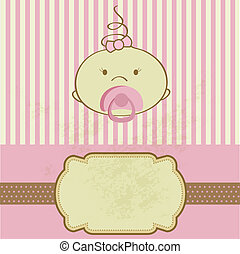 Vintage baby girl arrival announcement card - Vintage baby...