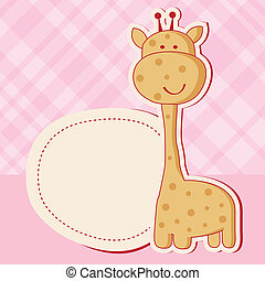 Baby girl shower card with cute giraffe - Vintage baby girl...