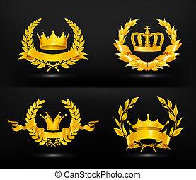 Vintage emblem, vector set on black