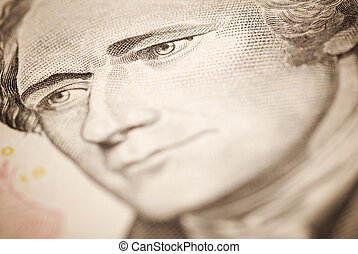 Hamilton - dollar closeup ,selective focus on eye toned