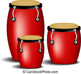 Congas band in red design with shadow on white background