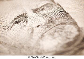 Grant - dollar closeup ,selective focus on eye toned