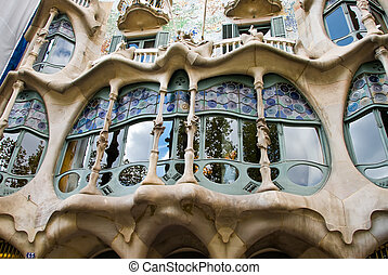 window of casa batllo - a detail of a window of casa battlo...