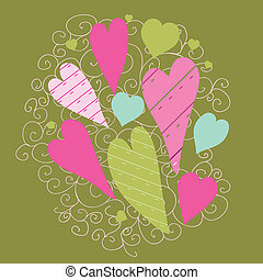 Greetings card with floral hearts