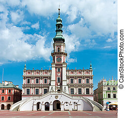 The main market square in the old town of Zamosc. It is on...