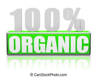 100% Organic 3d text with green box