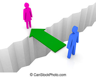 Bridge from man to woman through separation crack Concept 3D...
