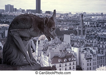 Notre Dame of Paris, Gargoyle most famous of all Chimeras,...