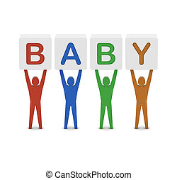 Men holding the word baby. Concept 3D illustration.