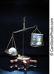 Money versus world - Antique balance with glassy globe and...