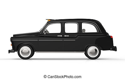 Black London Taxi isolated on white background. 3D Render