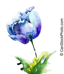 Stylized blue Tulip flowers. Watercolor illustration