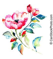 Rosehip Flower  - Rosehip Flower,  Watercolor painting