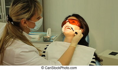 Dentistry. The woman on reception at the dentist