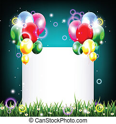 birthday background with balloon - vector illustration of...