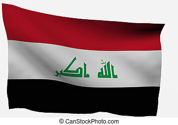 Iraq 3D flag - Iraq 3d flag isolated on white background