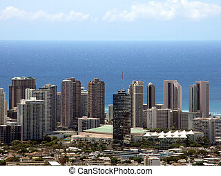 Convention Center, Waikiki, and Honolulu Landscape with view...