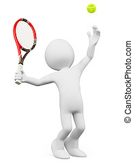 3D white people Tennis player serving - 3d white person...